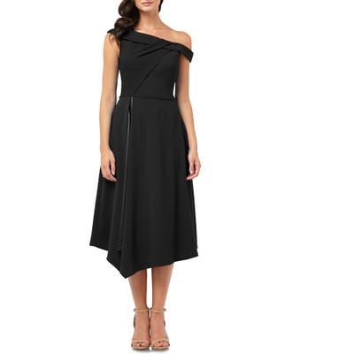 Carmen Marc Valvo Infusion One-Shoulder Crepe Dress, Black