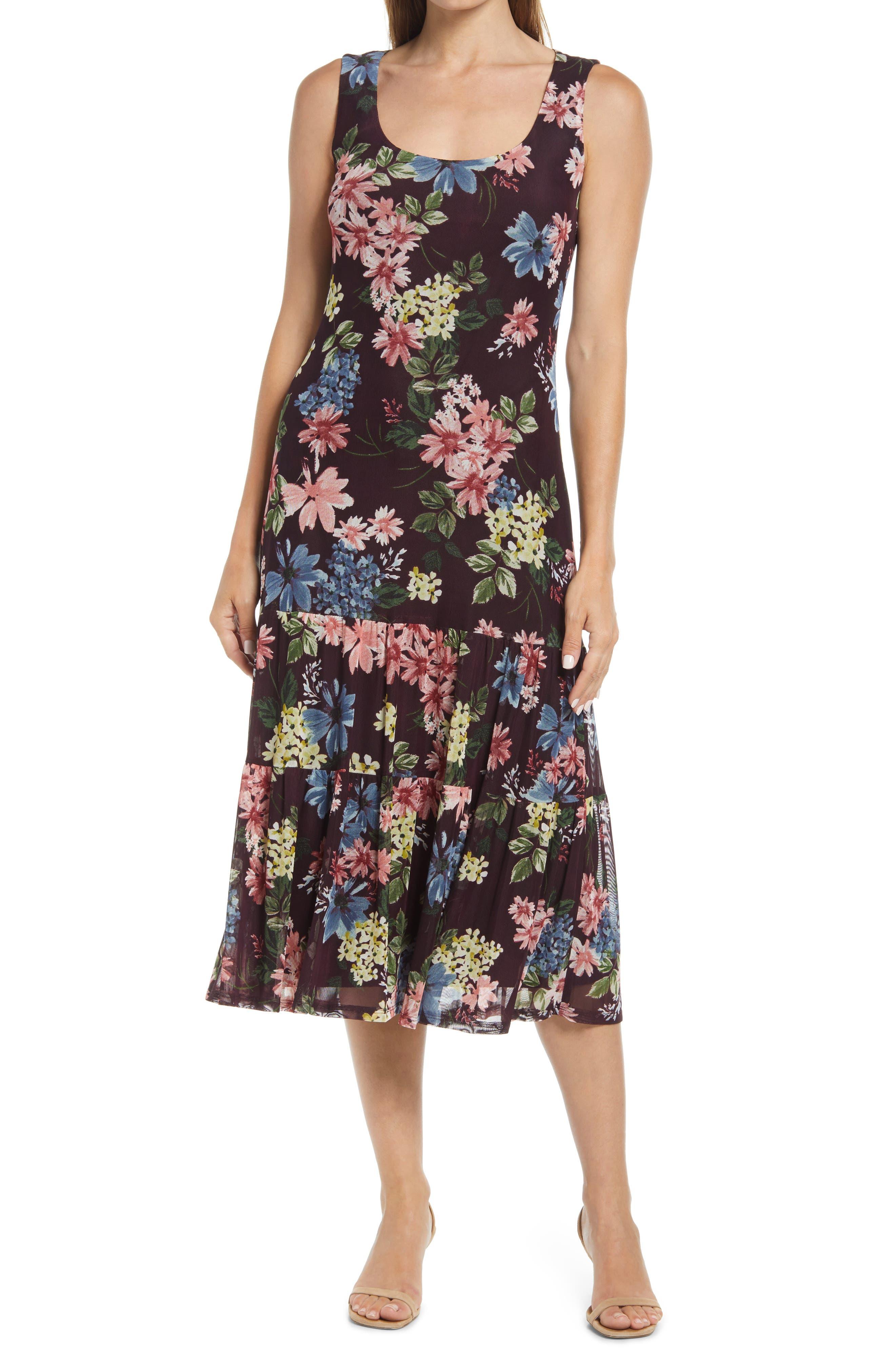 Sleeveless Floral Ruffle Hem Dress