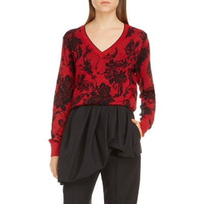 Dries Van Noten Jelina Floral Metallic Merino Wool Blend Sweater, Red
