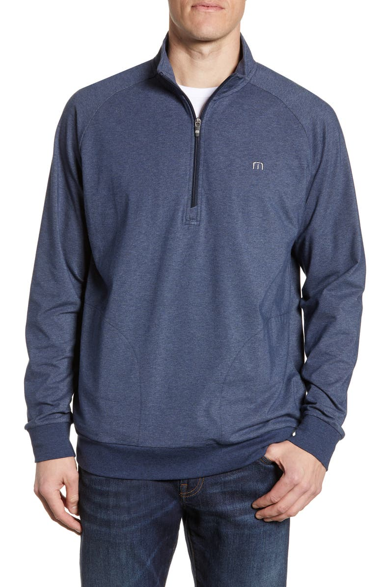 TRAVISMATHEW Zachary Half Zip Pullover, Main, color, HEATHER BLUE NIGHTS