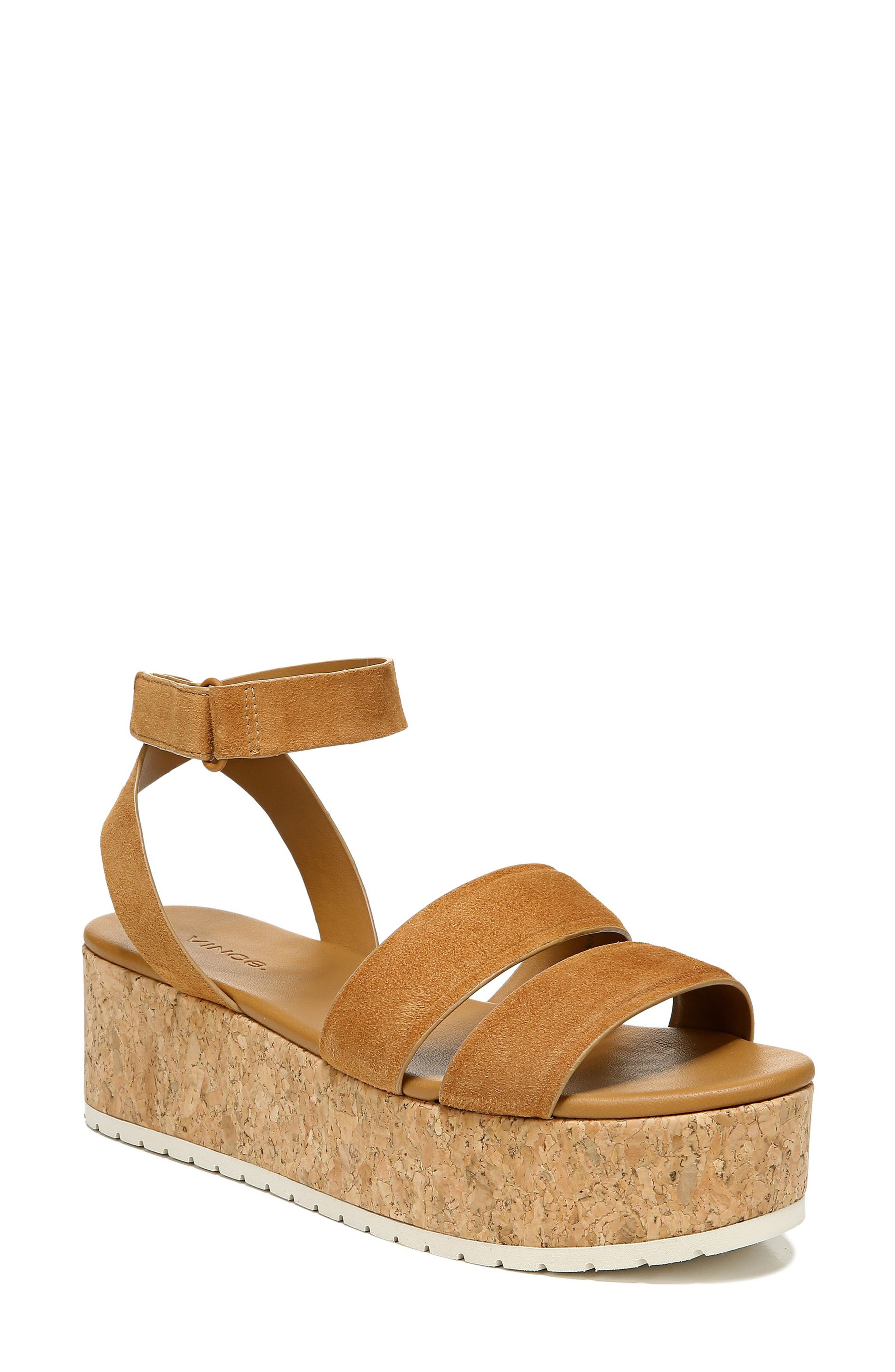 A cork-textured flatform dramatically ramps up the retro appeal of a breezy sandal styled with a wraparound strap that rings the ankle. Style Name: Vince Jet Cork Platform Sandal (Women). Style Number: 5986808 1. Available in stores.
