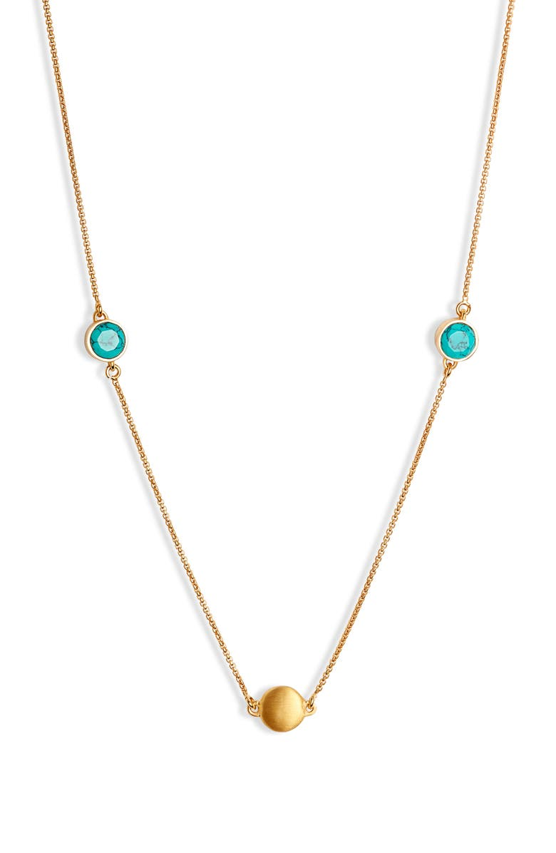 DEAN DAVIDSON Long Knockout Turquoise Charm Necklace, Main, color, GOLD/ TURQUOISE