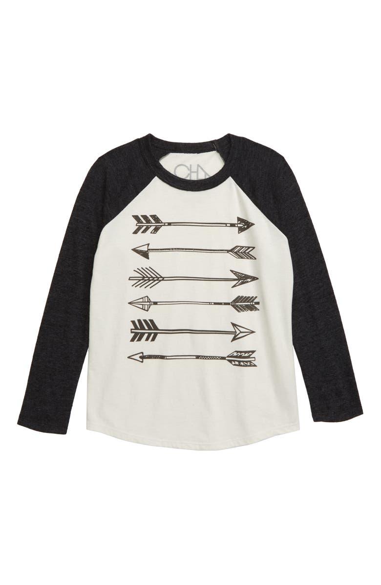 CHASER Arrows Blocked Raglan Shirt, Main, color, SALT/ BLACK