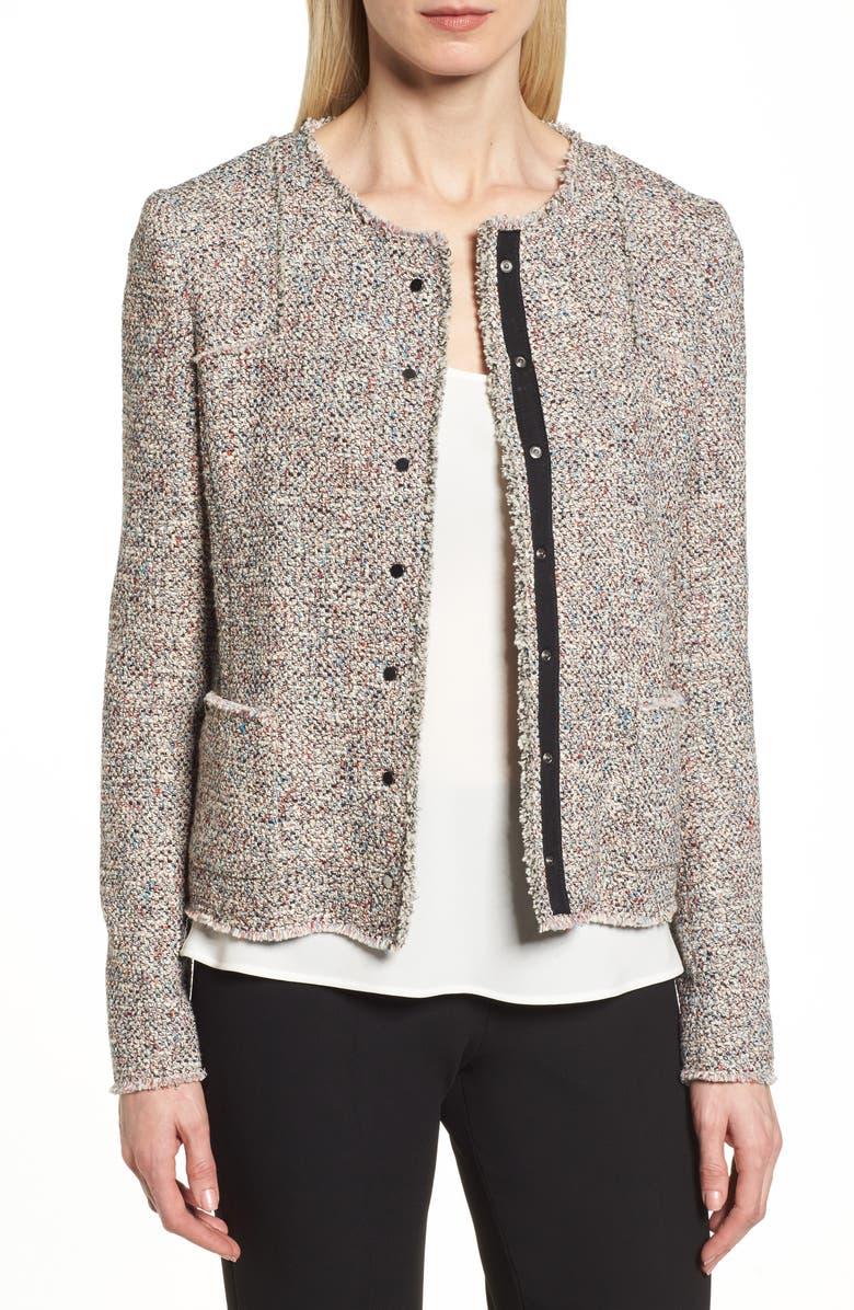 BOSS Koralie Tweed Jacket, Main, color, 462