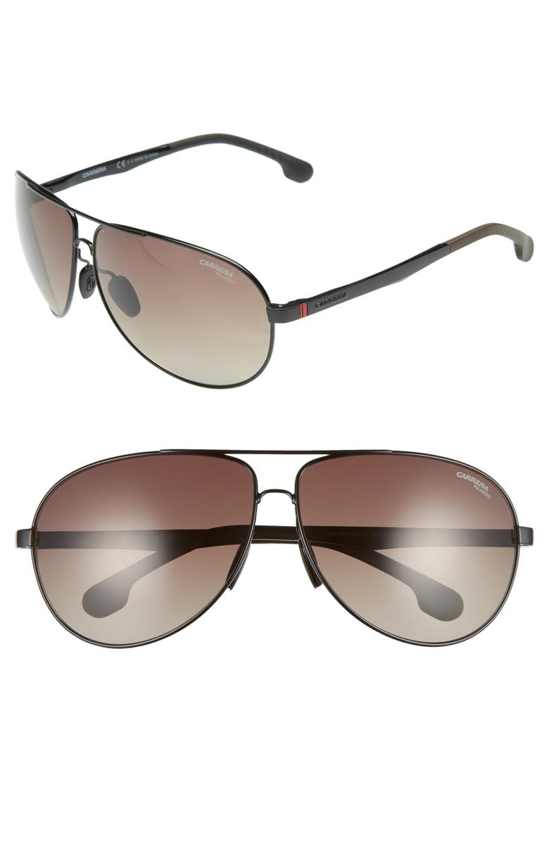 CARRERA EYEWEAR 65mm Polarized Aviator Sunglasses, Main, color, 004