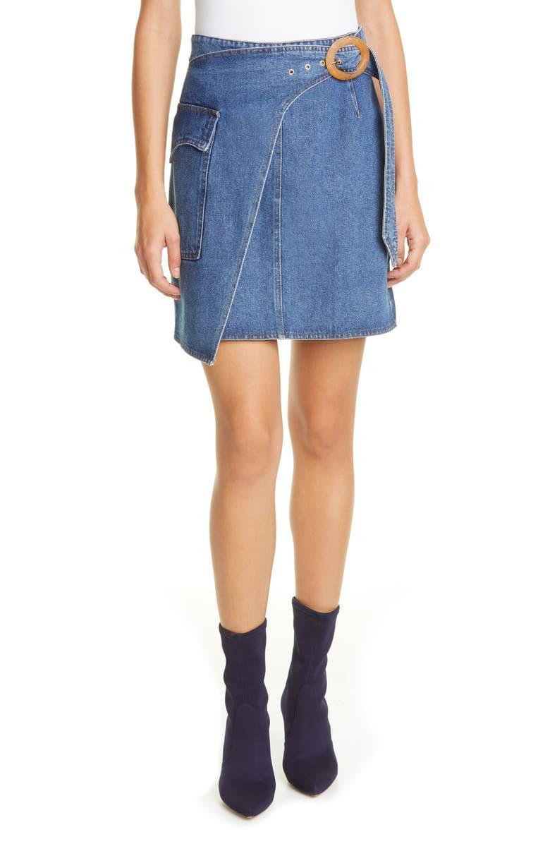 NANUSHKA Yeva Wrap Front Denim Miniskirt, Main, color, INDIGO