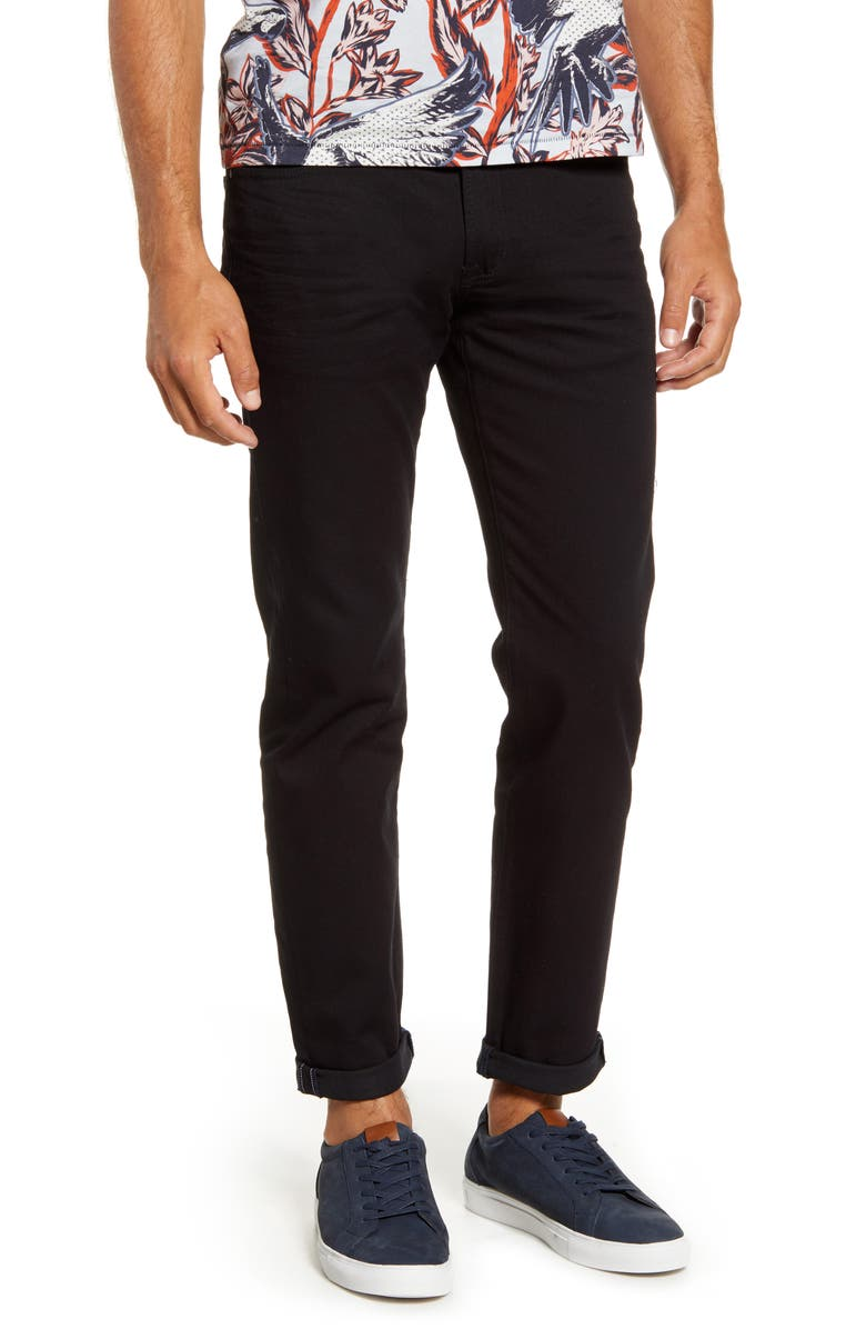 TED BAKER LONDON Straight Fit Black Jeans, Main, color, BLACK