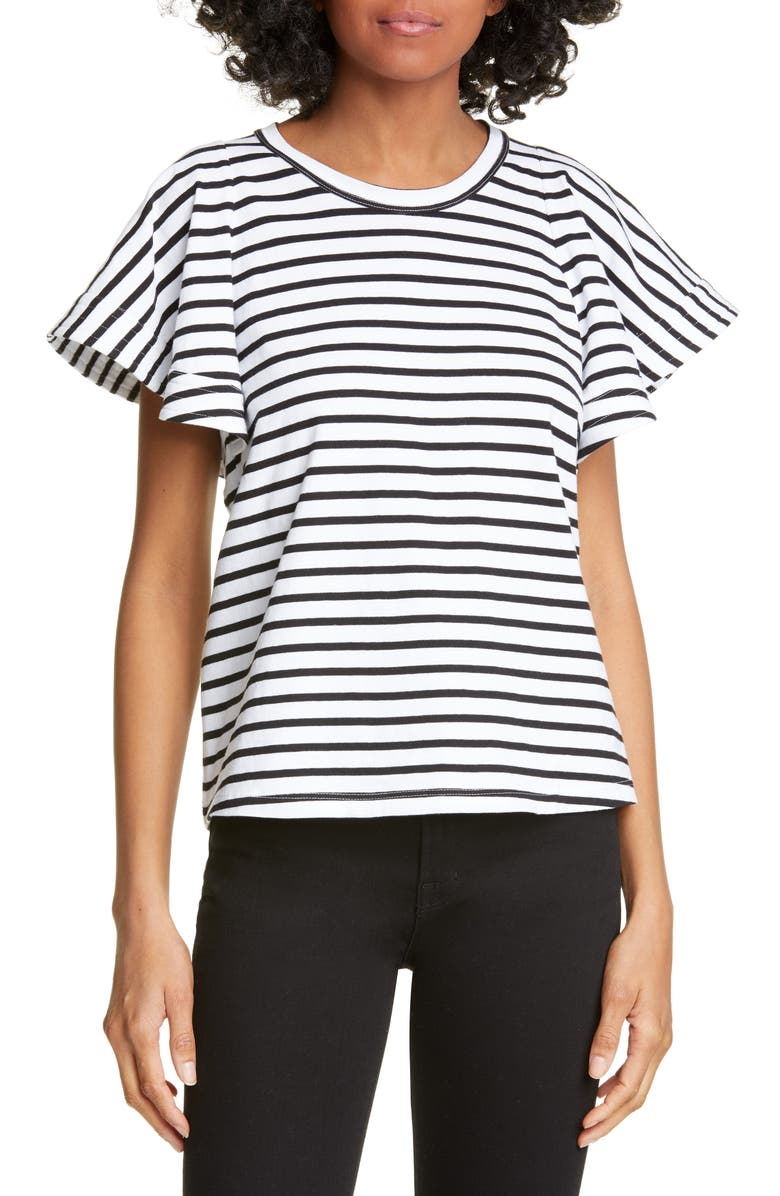 A.L.C. Carrie Stripe Tee, Main, color, BLACK / WHITE