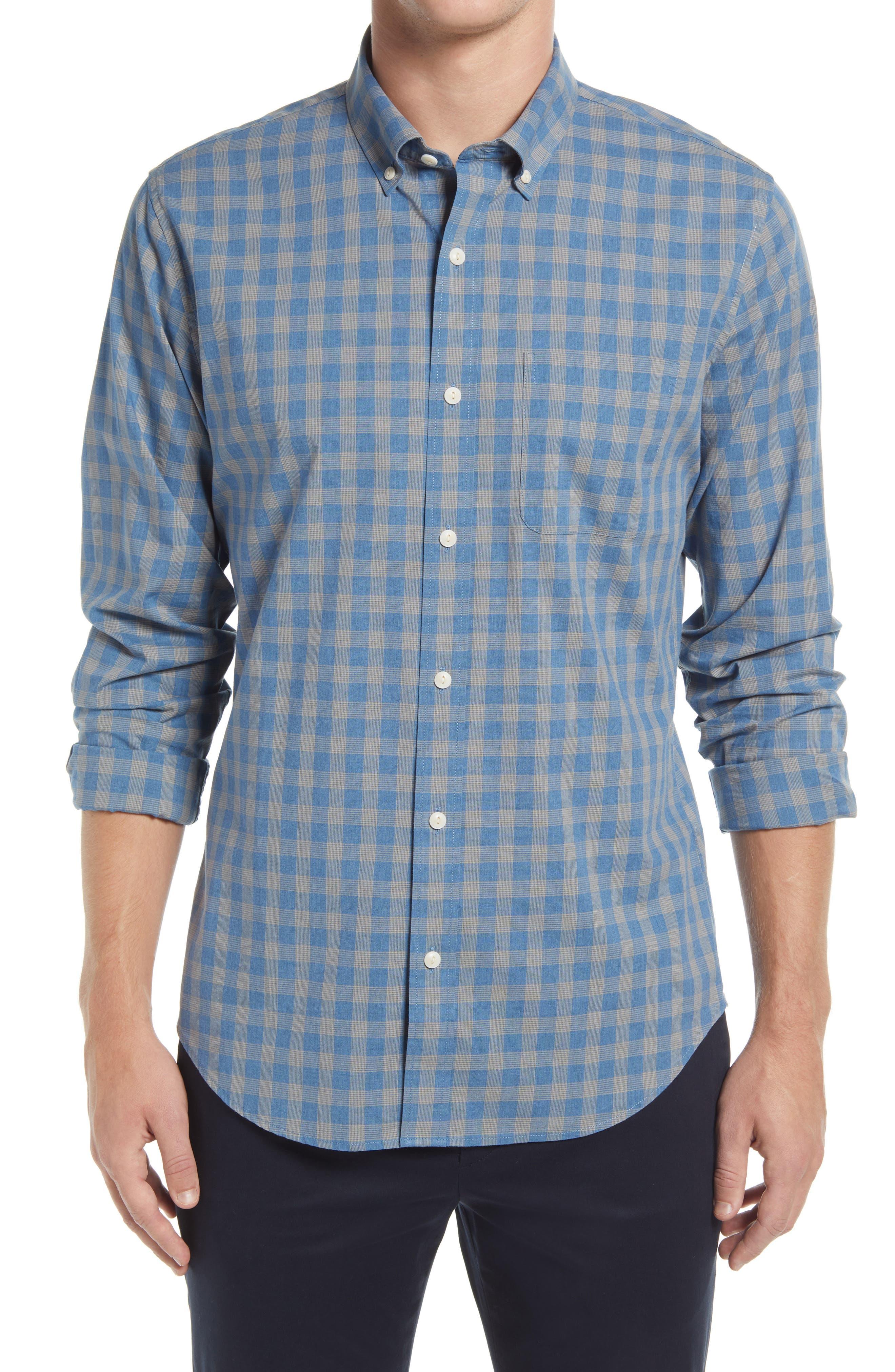 Slim Fit Check Stretch Chambray Button-Down Shirt
