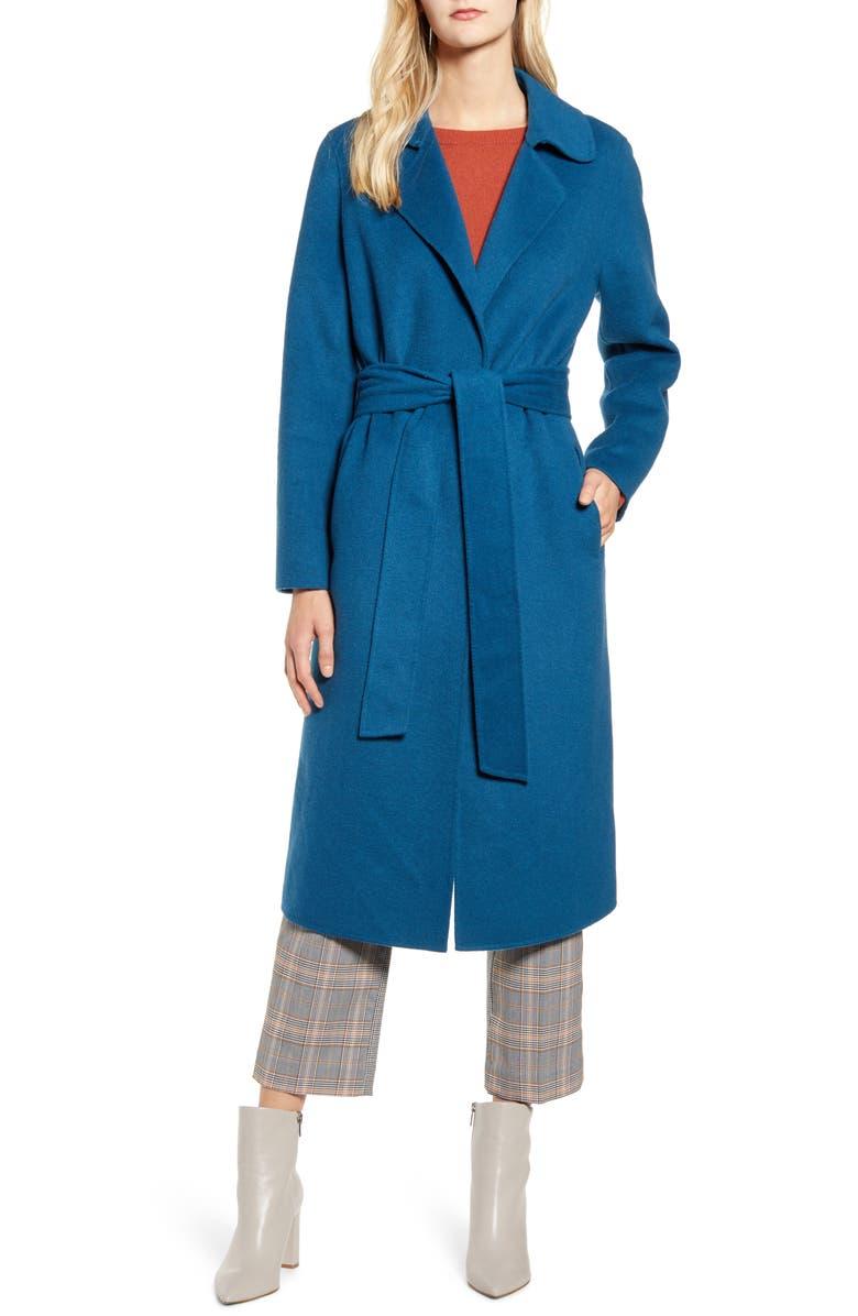 BERNARDO Double Face Wrap Coat, Main, color, COBALT
