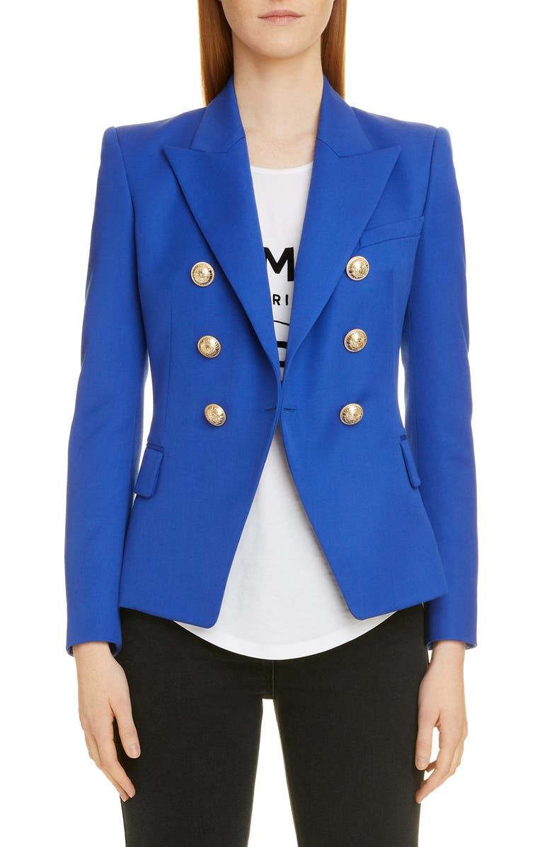 BALMAIN Double Breasted Grain de Poudre Wool Jacket, Main, color, 6UF BLEU GITANE
