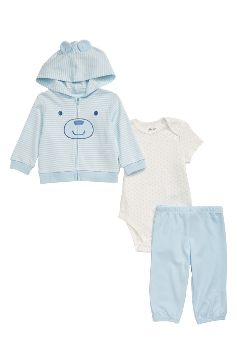 LITTLE ME Bear Zip Hoodie, Bodysuit & Pants Set, Main, color, BLUE