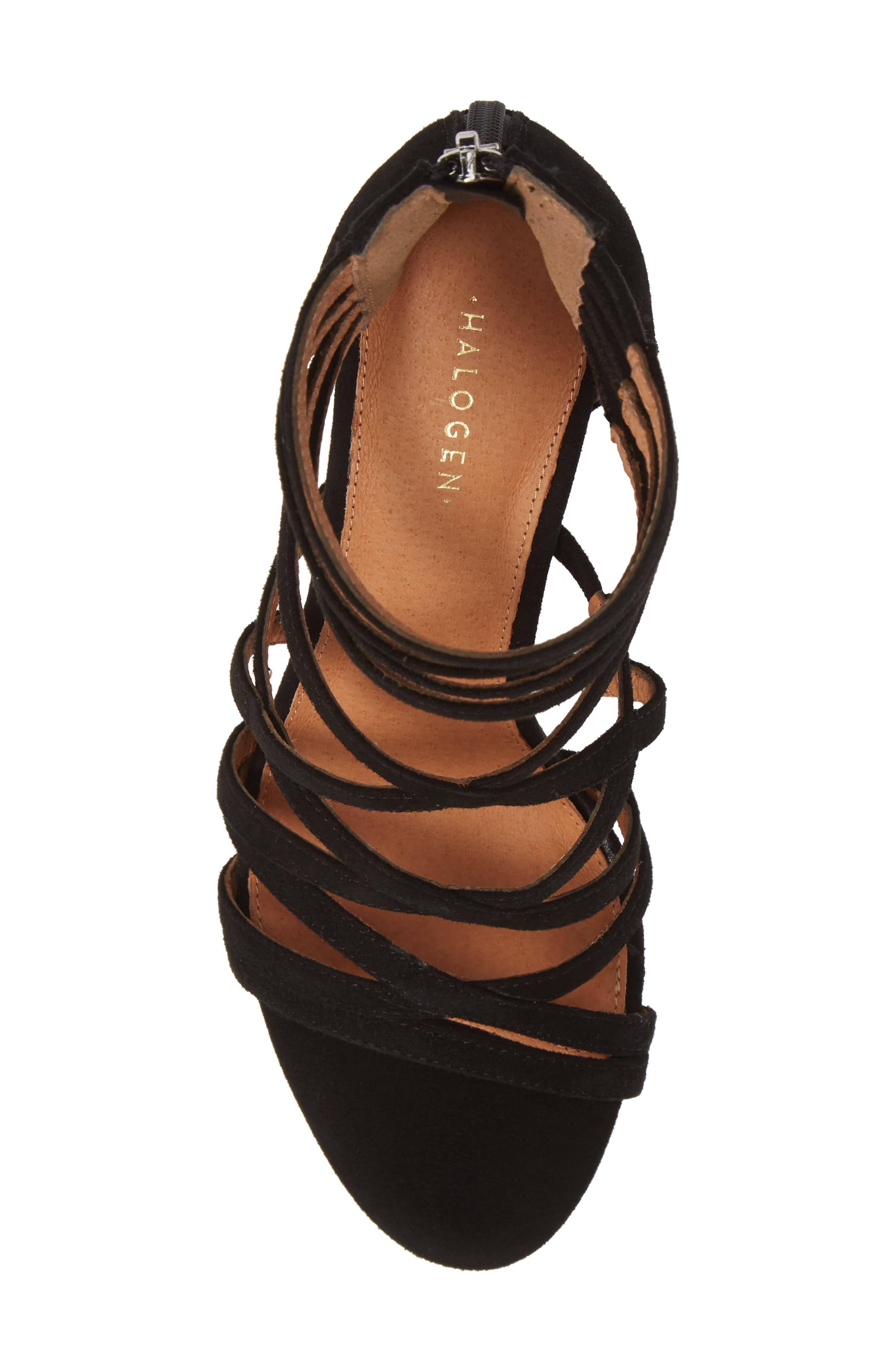 ,                             Strappy Block Heel Sandal,                             Alternate thumbnail 5, color,                             BLACK SUEDE