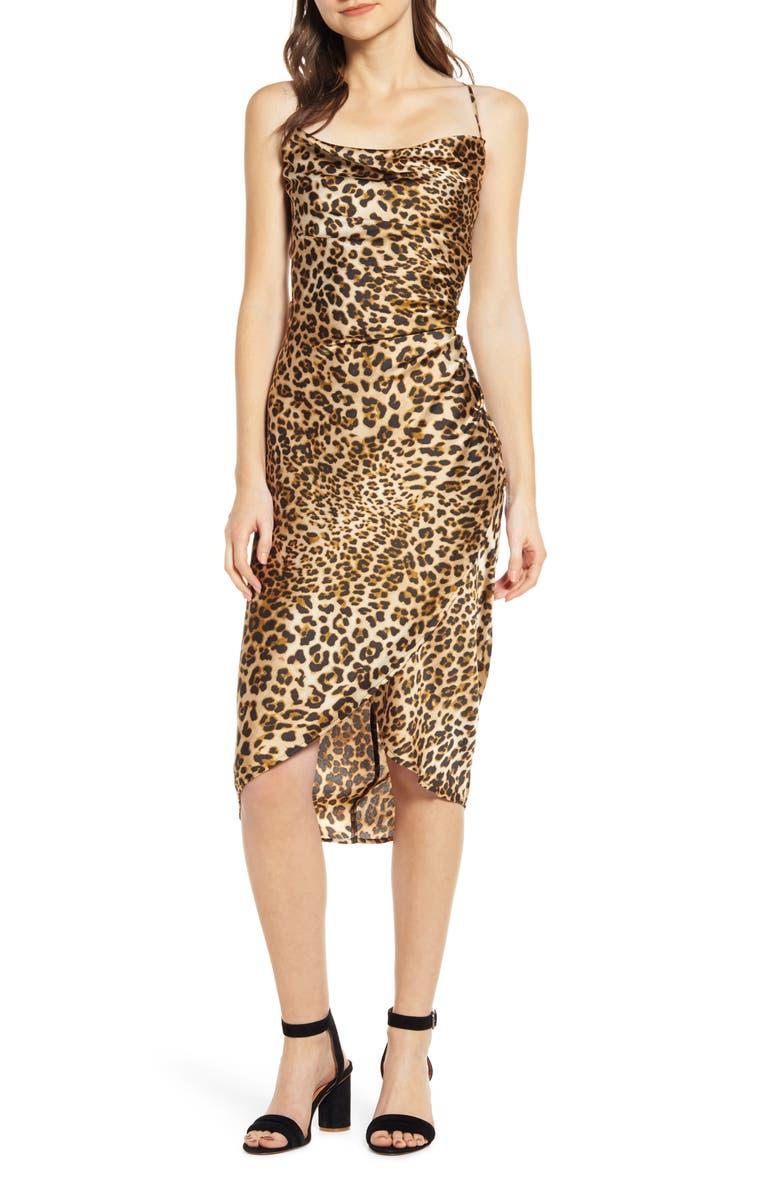 MOON RIVER Cowl Neck Leopard Print Midi Dress, Main, color, 200