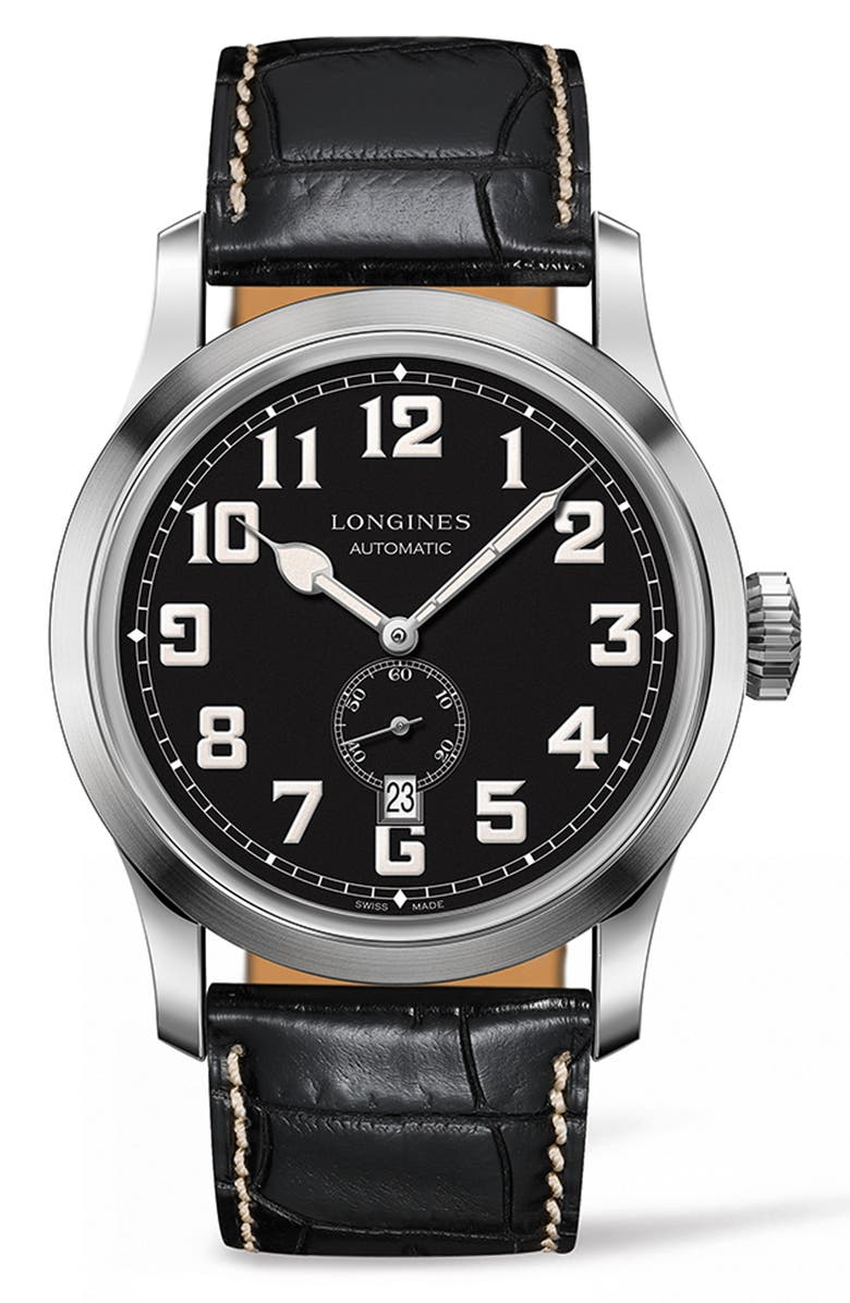 LONGINES Heritage Automatic Military Leather Strap Watch, 44mm, Main, color, BLACK/ SILVER