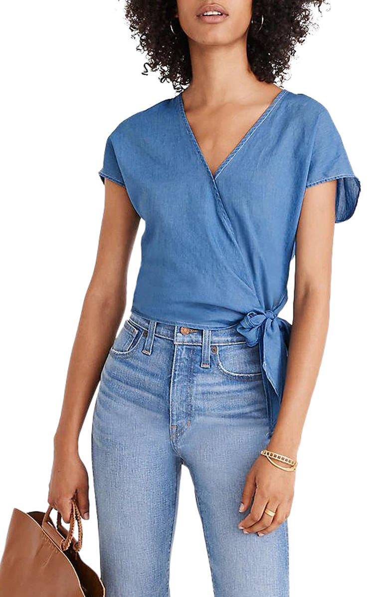 MADEWELL Short Sleeve Denim Wrap Top, Main, color, FADED INDIGO