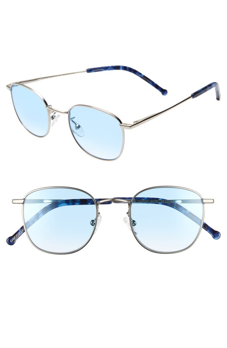COLORS IN OPTICS Sammy 49mm Round Sunglasses, Main, color, SILVER/ BLUE