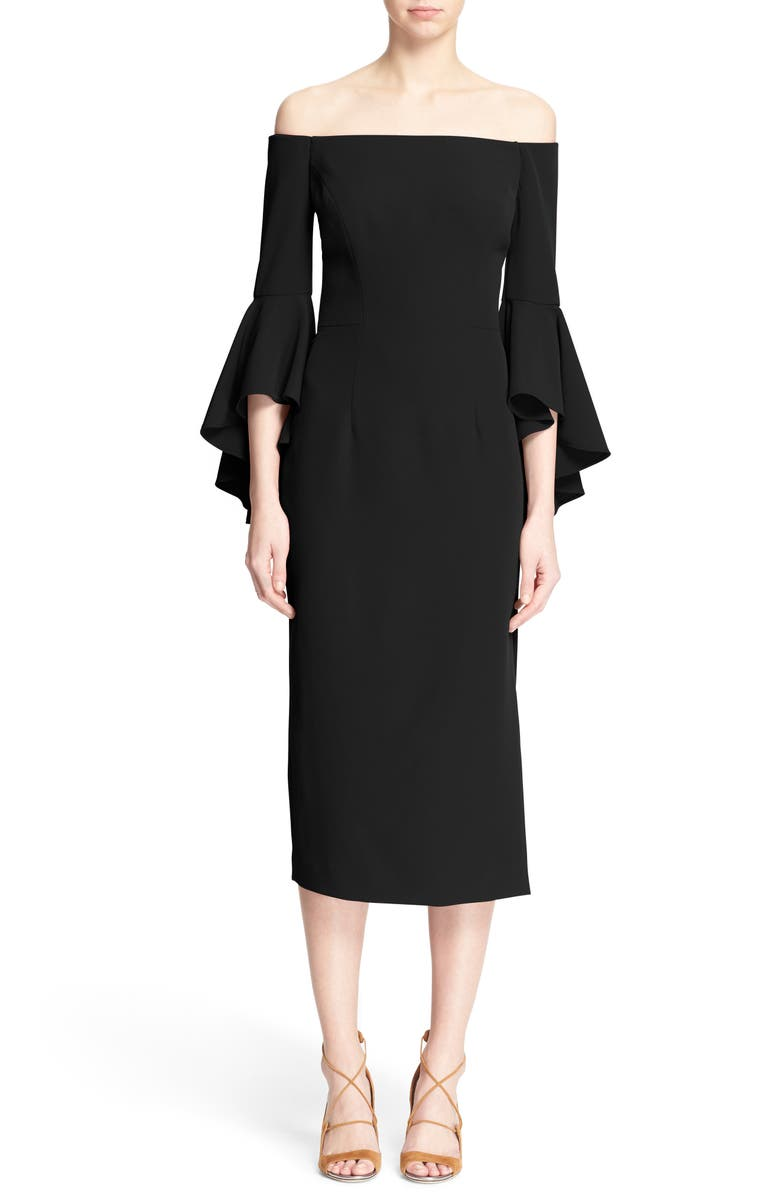 MILLY Selena Stretch Cady Off the Shoulder Midi Dress, Main, color, 003