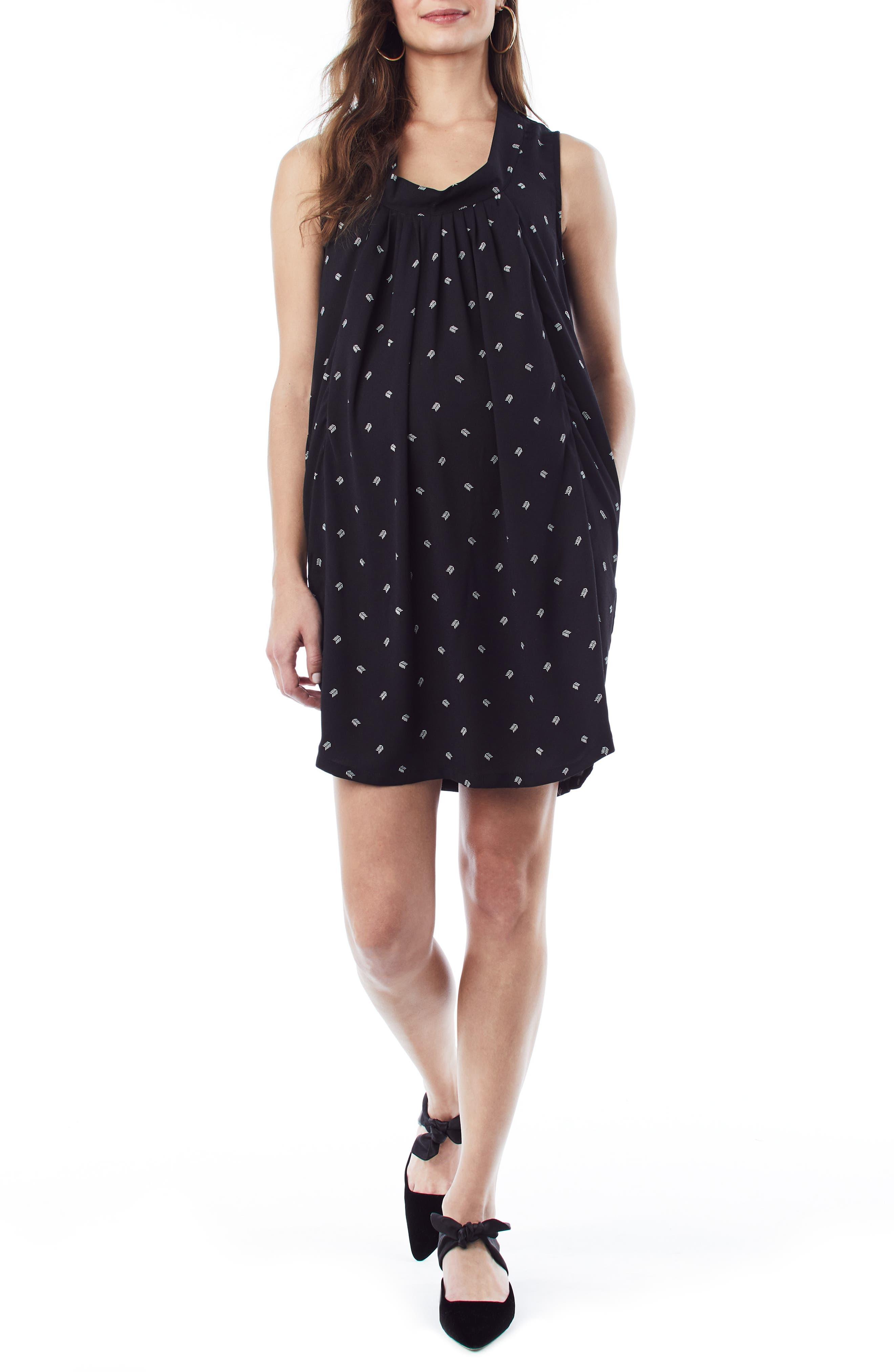 Loyal Hana Anya Maternity/nursing Shift Dress, Black