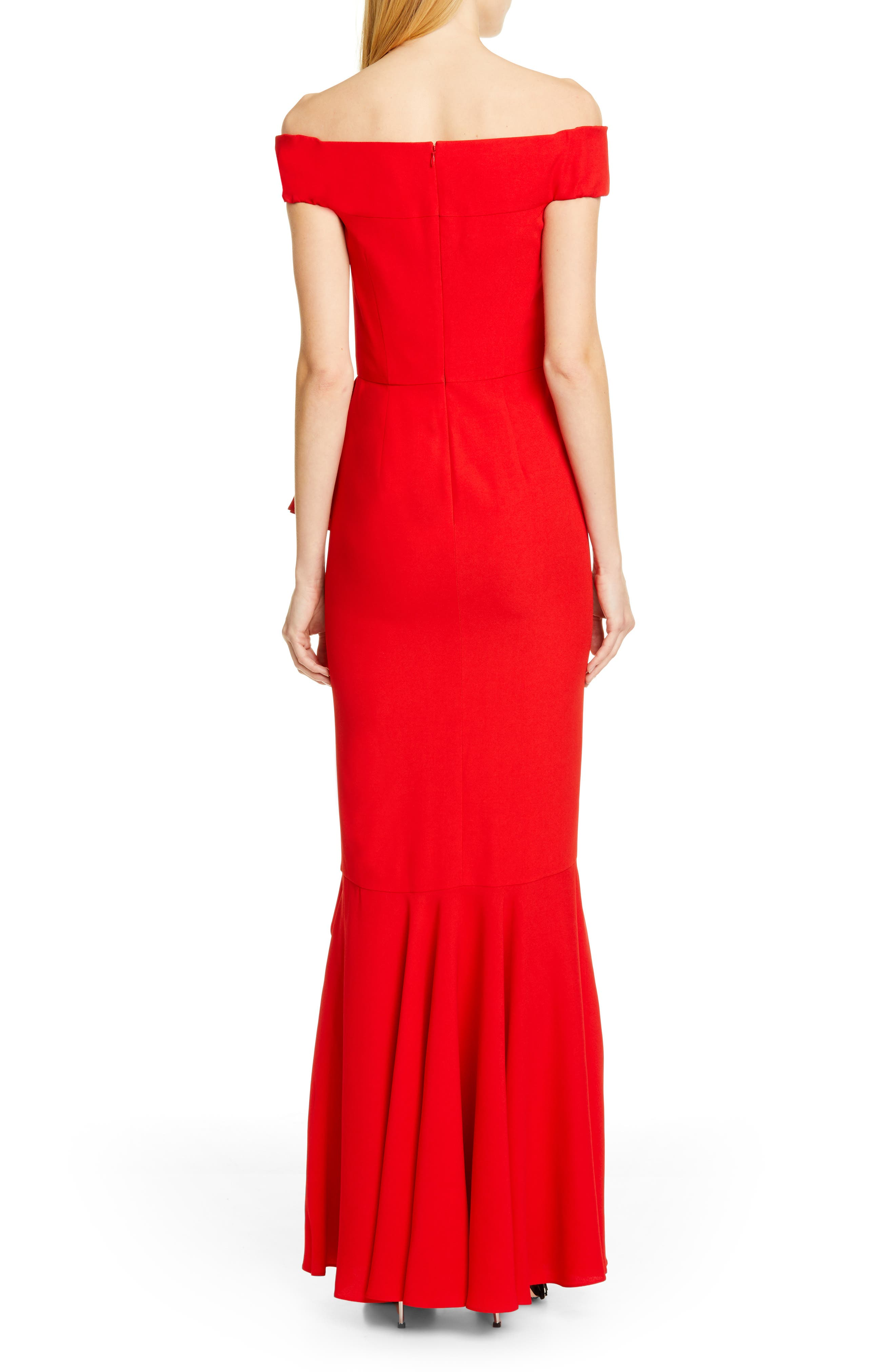 ,                             Ruffle Off the Shoulder Evening Dress,                             Alternate thumbnail 2, color,                             LUST RED