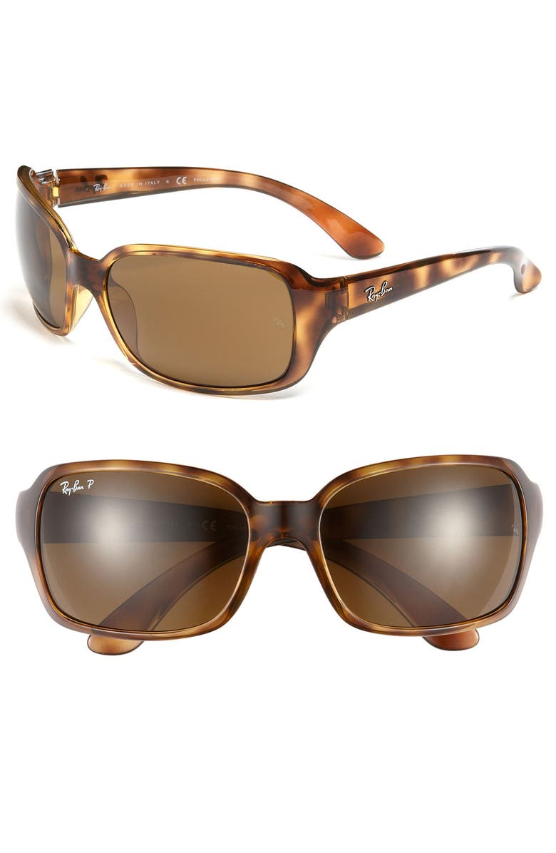 RAY-BAN 'Big Glamour' 60mm Polarized Sunglasses, Main, color, TORTOISE