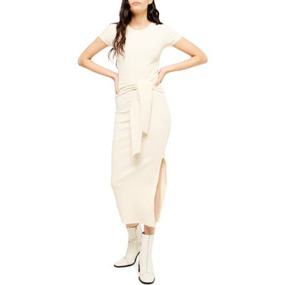 Topshop Ribbed Belted Column Dress, US (fits like 0-2) - Ivory