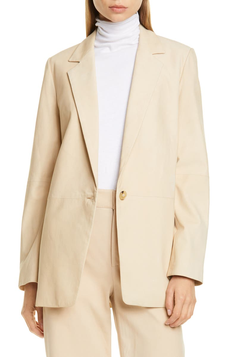 VINCE Nubuck Leather Blazer, Main, color, DARK CHIFFON