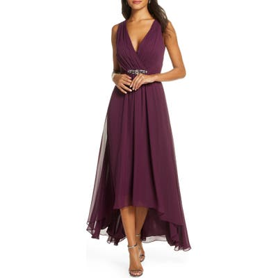 Eliza J Wrap Look High/low Chiffon Dress, Purple