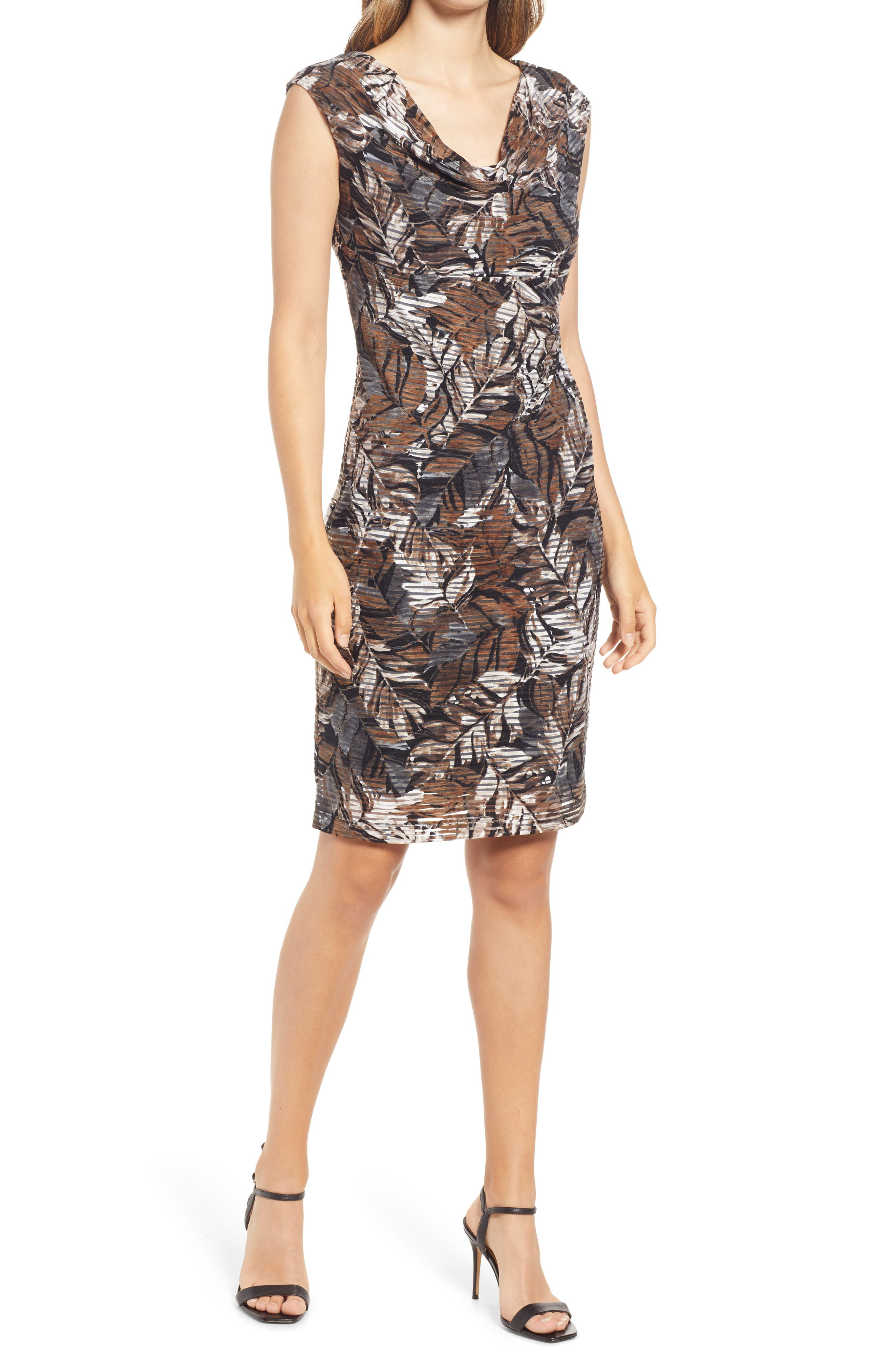 Leaf Jacquard Knit Cowl Neck Sheath Dress