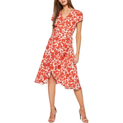 Bardot Fiesta Floral Faux Wrap Dress, Orange
