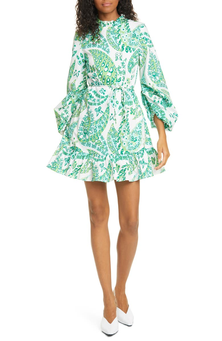 STAUD Carolina Butterfly Paisley Print Stretch Cotton Minidress, Main, color, LIGHT GREEN PAISLEY