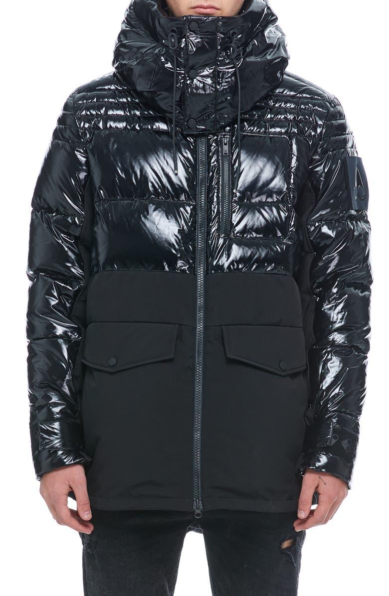 MOOSE KNUCKLES Dugald Down Jacket, Main, color, BLACK / BLACK