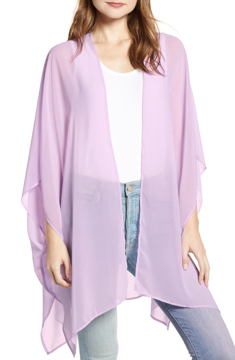 NORDSTROM Chiffon Wrap, Main, color, PURPLE BLOOM