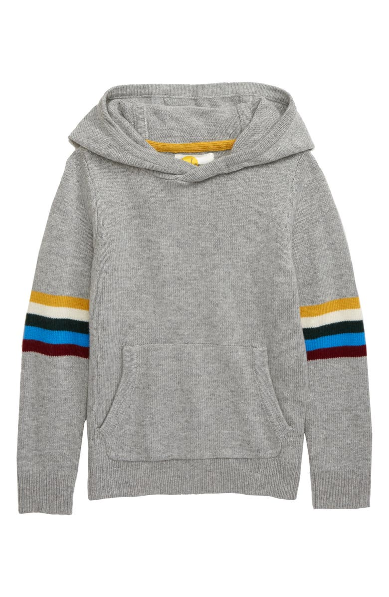MINI BODEN Knit Hoodie, Main, color, GREY MARL/ RAINBOW
