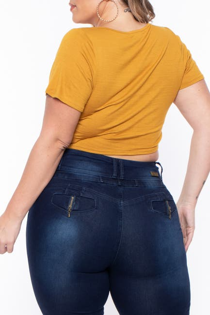 Image of Curvy Sense Shirred V-Neck Top