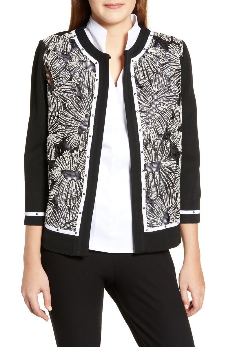 MING WANG Floral Knit Jacket, Main, color, 002
