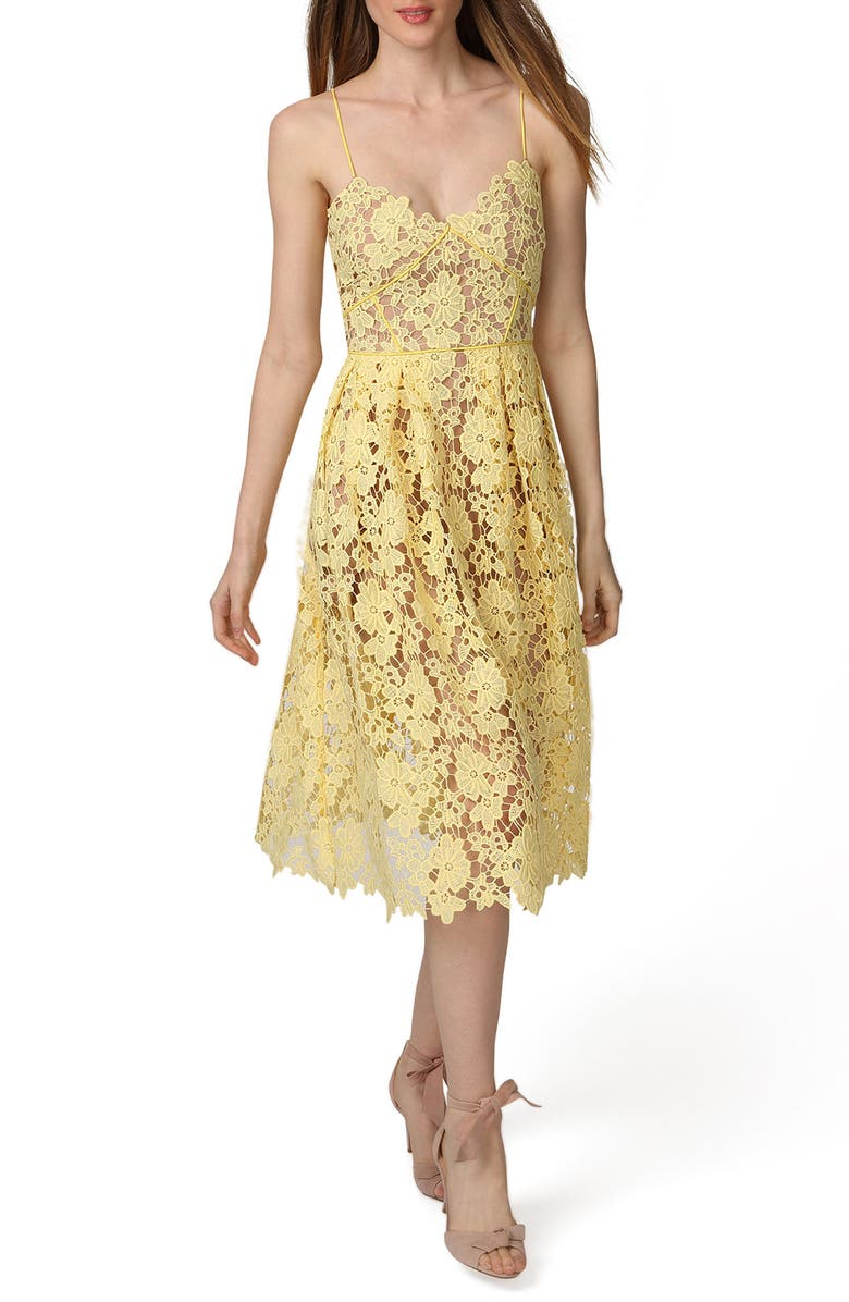 bc412f2c8447 Donna Morgan Spaghetti Strap Lace Midi Dress | Nordstrom