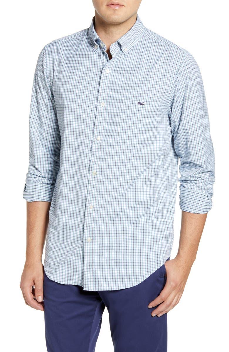 VINEYARD VINES Tucker Classic Fit Tattersall Button-Down Performance Sport Shirt, Main, color, SEACLIFF BLUE