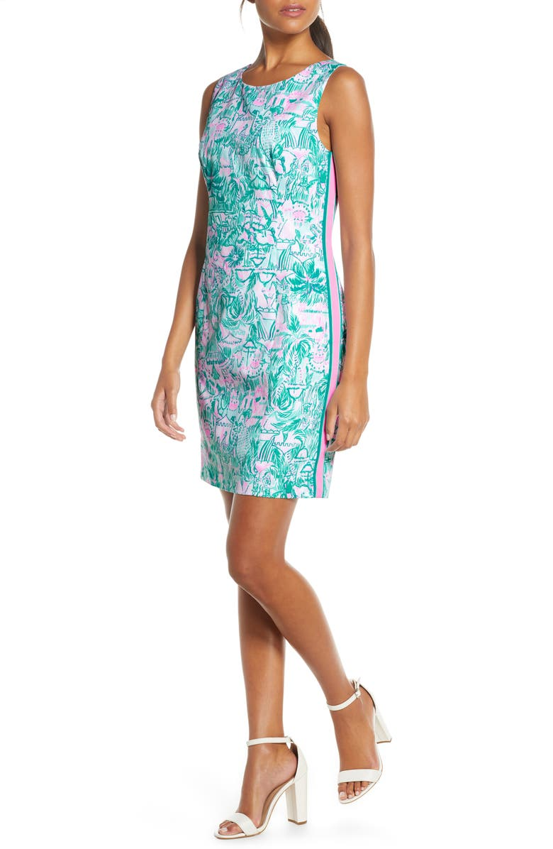 LILLY PULITZER<SUP>®</SUP> Mila Tape Stripe Sheath Dress, Main, color, BRIGHT AGATE GREEN