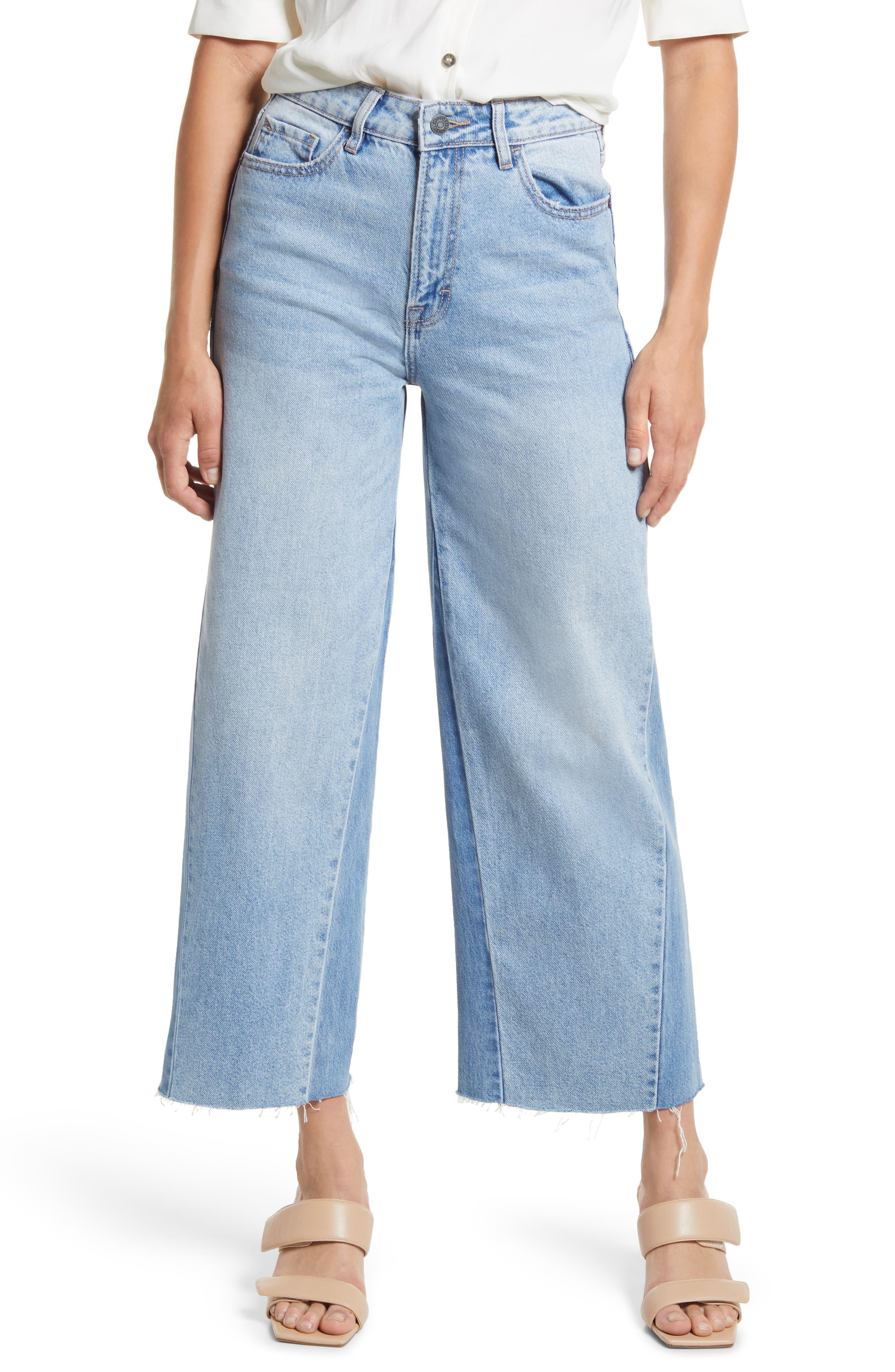 High Waist Side Panel Crop Wide Leg Jeans