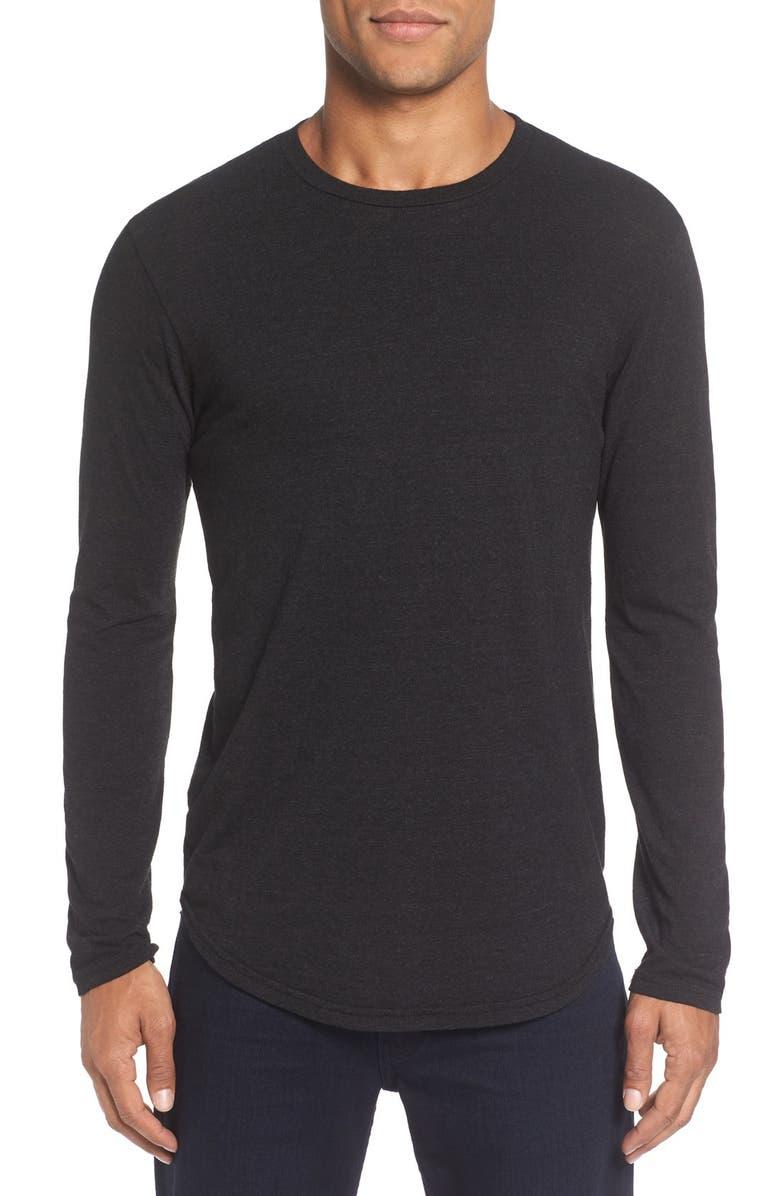 GOODLIFE Triblend Scallop Long Sleeve Crewneck T-Shirt, Main, color, BLACK