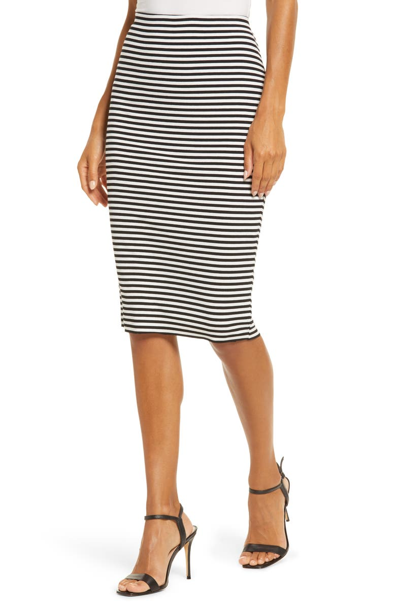 VINCE CAMUTO Stripe Vibrations Tube Skirt, Main, color, RICH BLACK