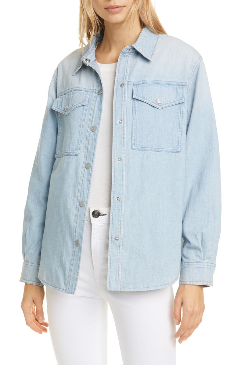 LA VIE REBECCA TAYLOR Denim Shirt Jacket, Main, color, CLAIR WASH