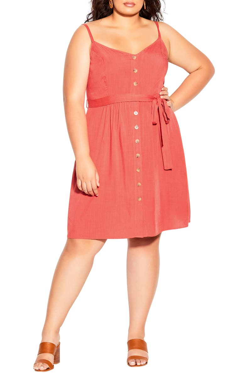 CITY CHIC Date Day Belted Dress, Main, color, TANGERINE