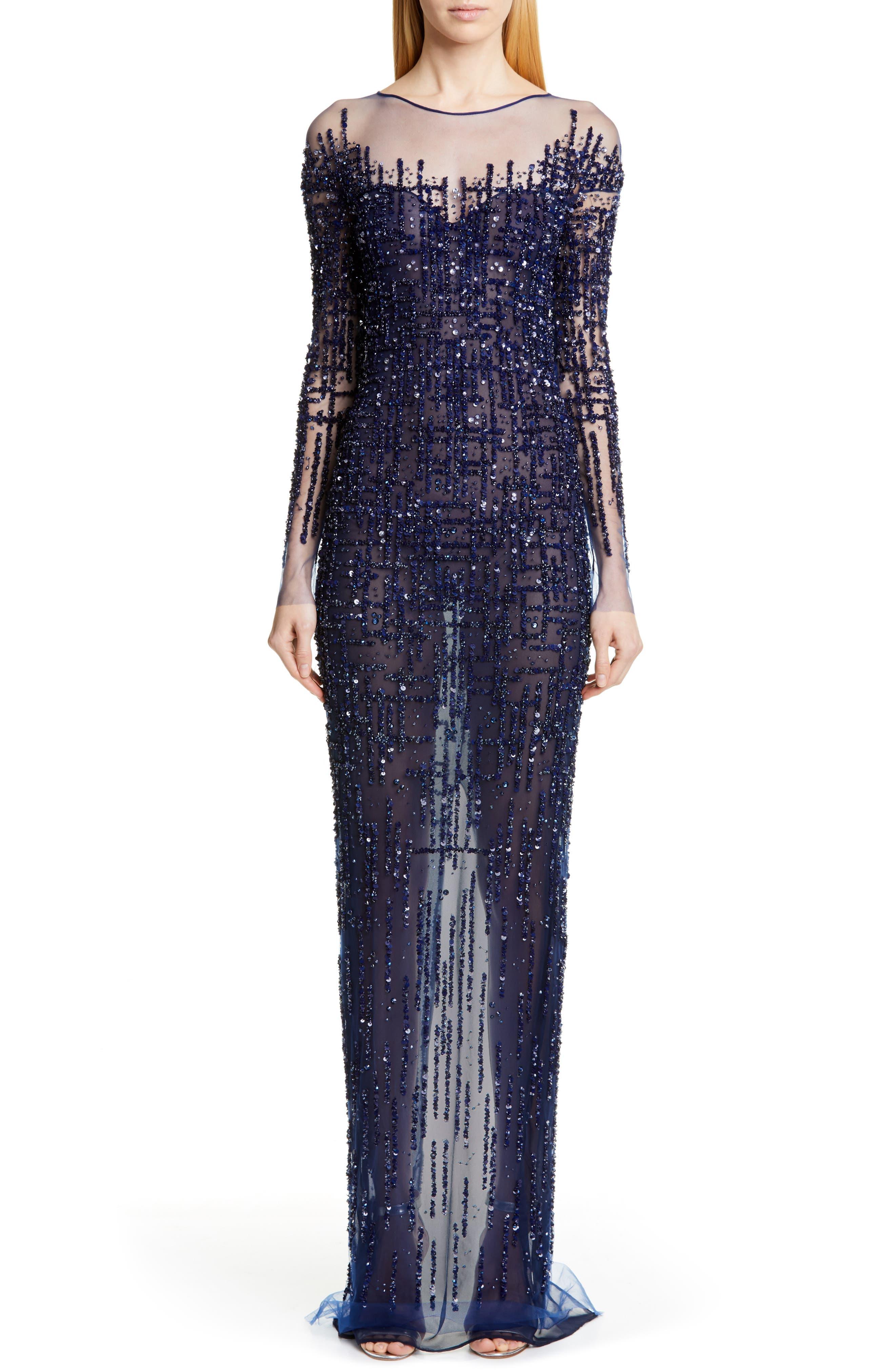 Pamella Roland Long Sleeve Sequin Column Gown