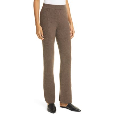 Nanushka Leba Rib Merino Wool Blend Pants, Brown