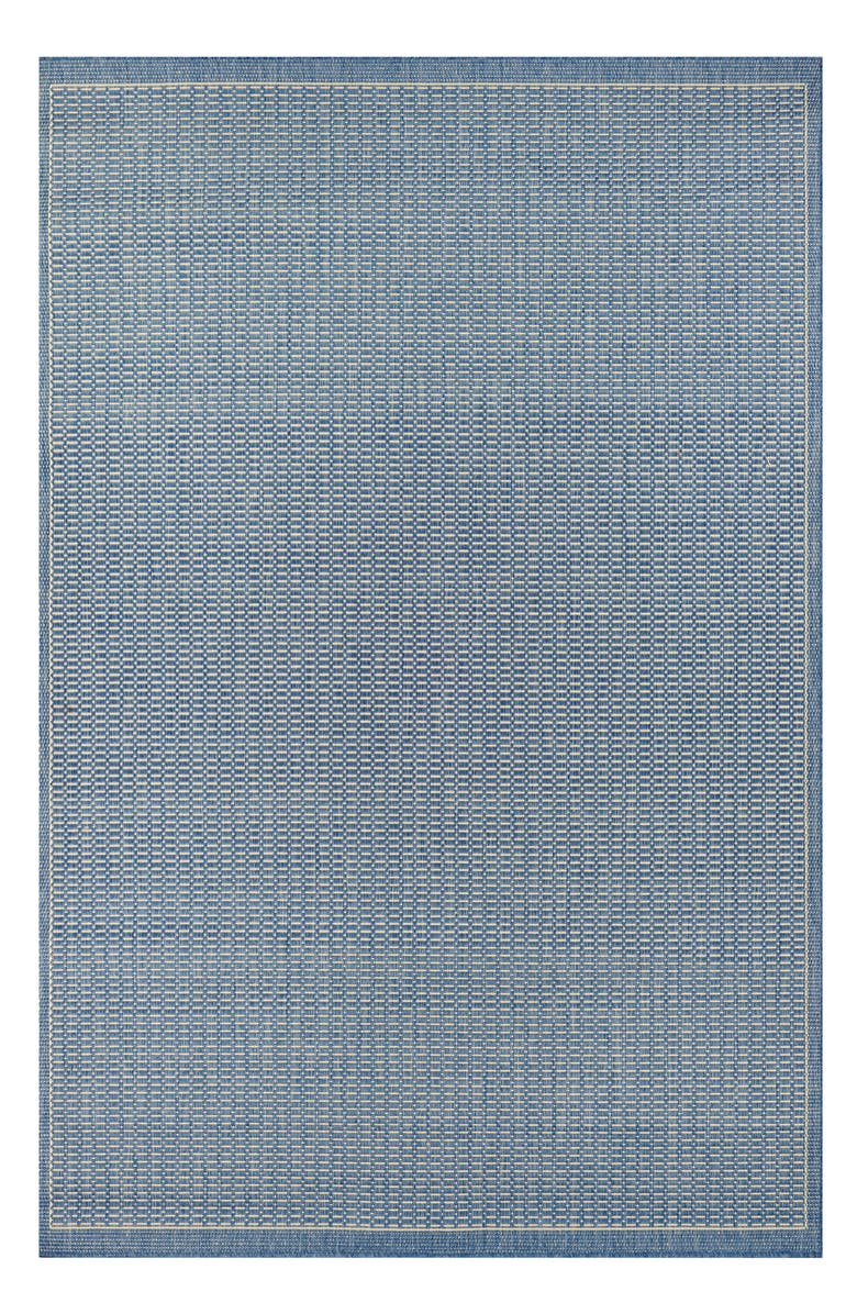 COURISTAN Saddlestitch Indoor/Outdoor Rug, Main, color, CHAMPAGNE/ BLUE