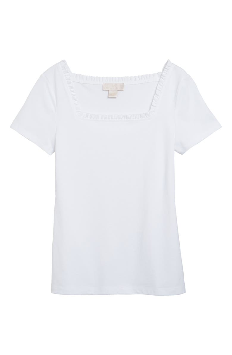 RACHEL PARCELL Square Neck T-Shirt, Main, color, White