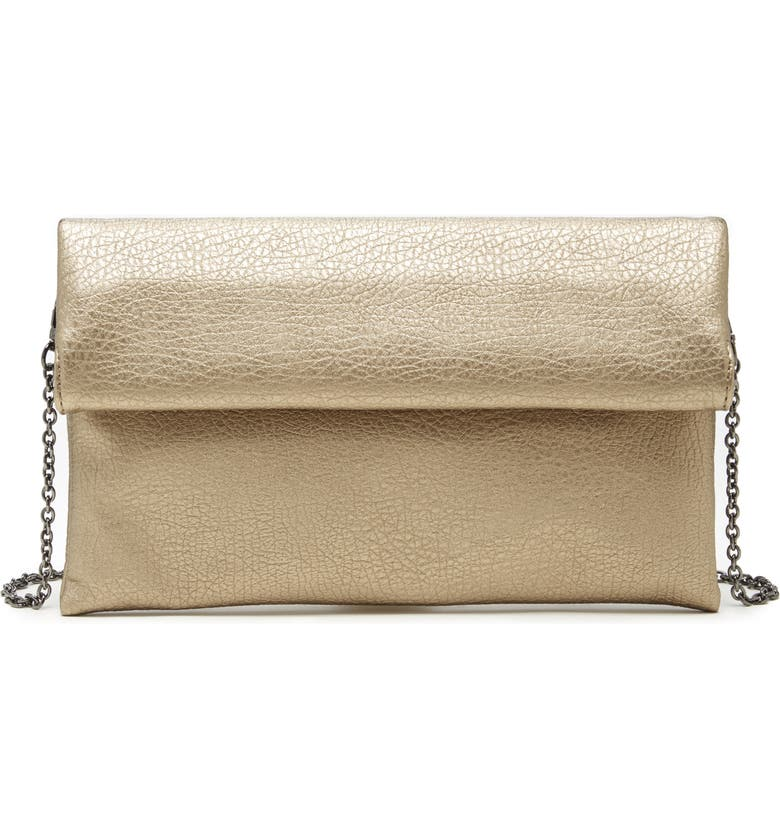 SOLE SOCIETY Yotam Metallic Faux Leather Clutch, Main, color, BRONZE