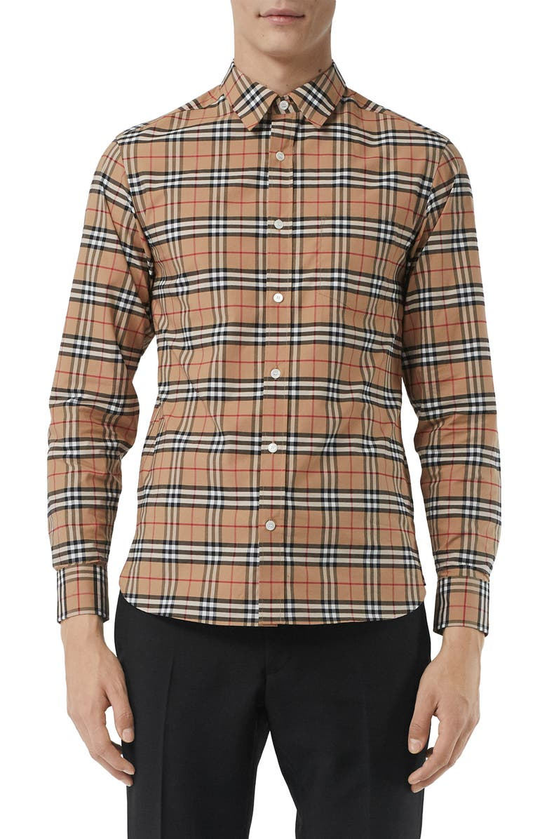 BURBERRY George Slim Fit Check Sport Shirt, Main, color, CAMEL
